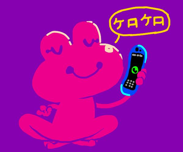 Frog says 'Ribbit ribbit'  phone in japanese