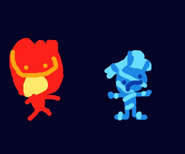 happy fireman and sad iceman
