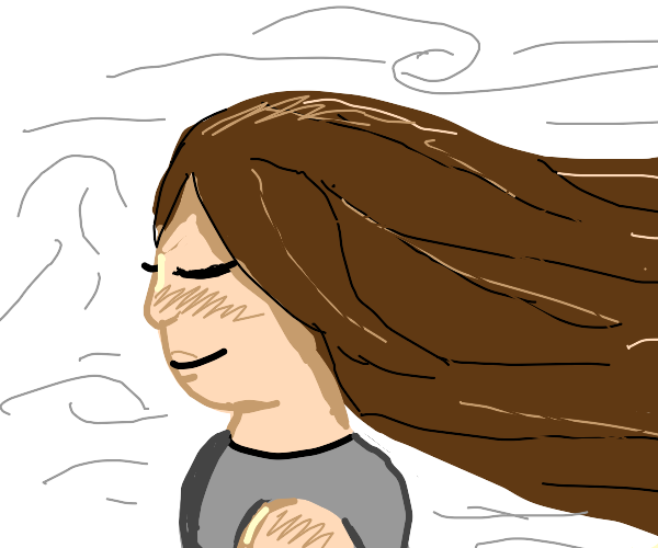 Girl with wind blowing through hair