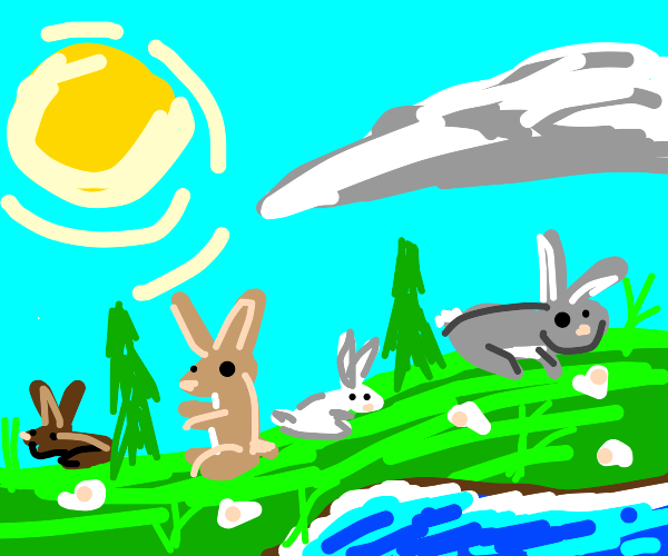A beautiful paradise with rabbits everywhere