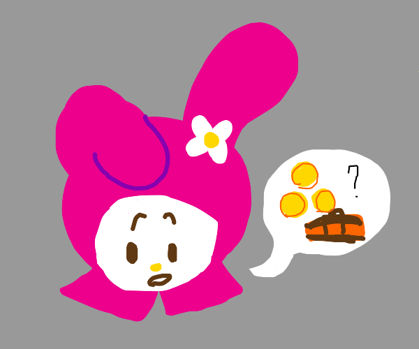 Pink buny lookin for treasure