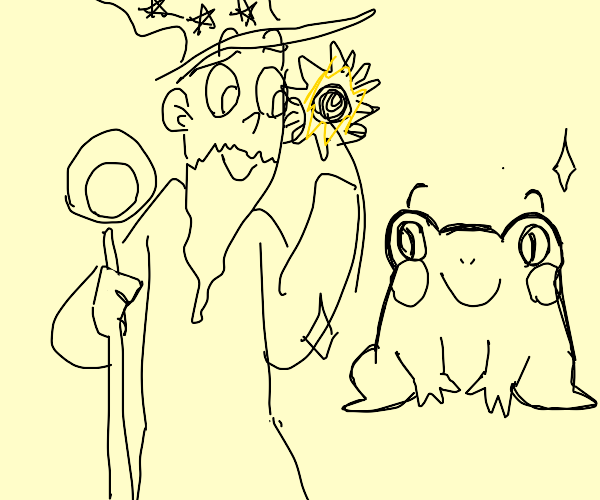 Frogs love wizards with sunflowers