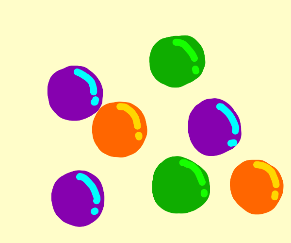 purple, orange and green marbles