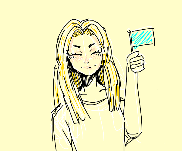 Blonde girl hold small flag and is happy