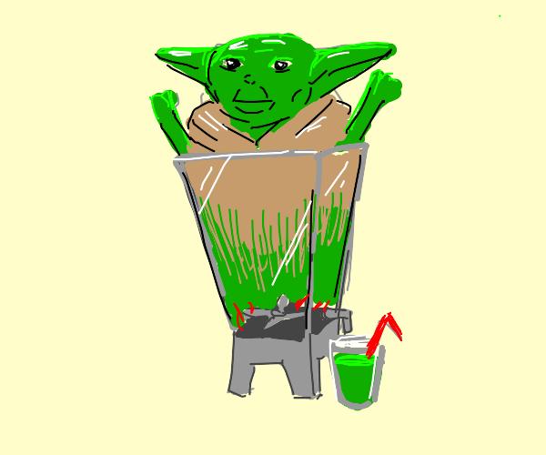 Blending yoda to make a healthy green smoothi