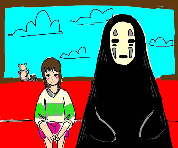 spirited away no face and chihiro
