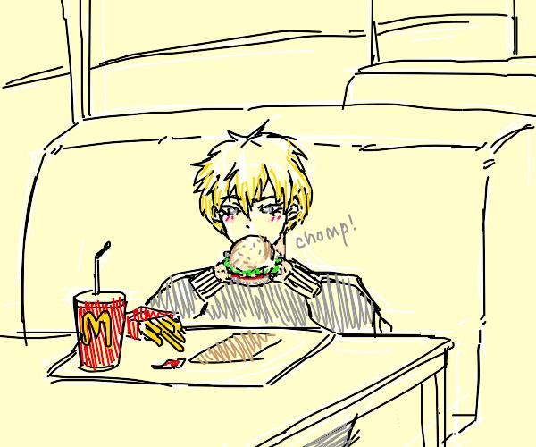 blonde anime guy goes to mcdonalds