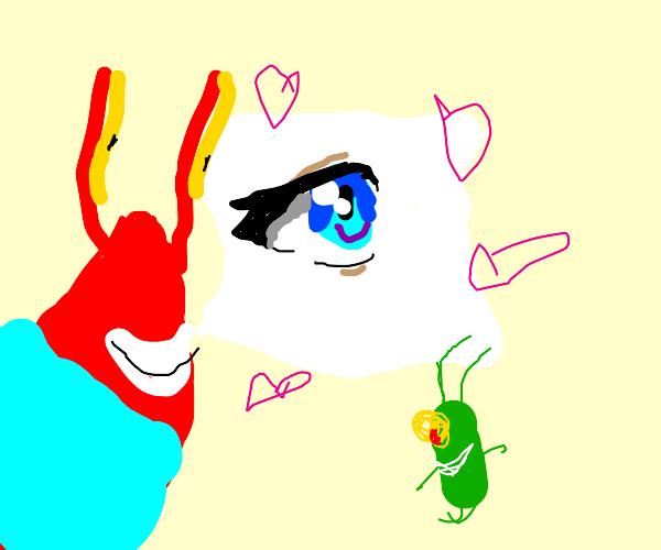 Mr krab and plankton love anime style