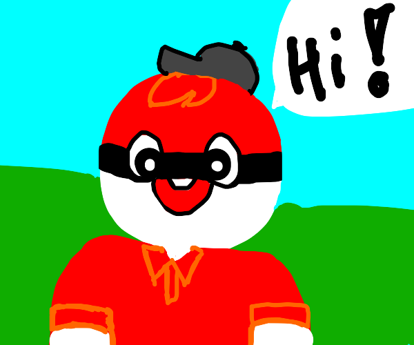 Poke ball man greets you! (S&S)
