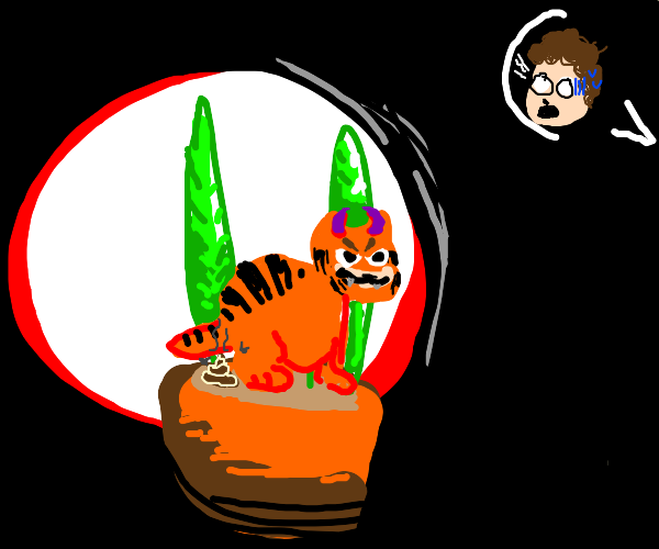 Devil Garfield poops in Jon's plant