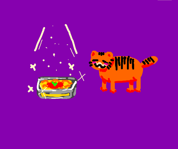 Garfield has acquired the lasagna