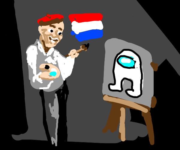 Dutch artist paints amogus imposter