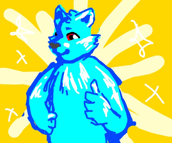 Attractive masculine blue humanoid fur entity