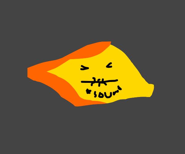 Lemon making sour face