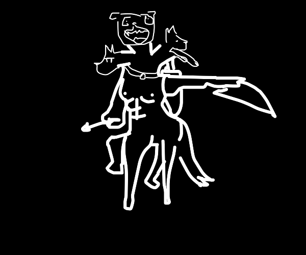 Centaur with Cerberus heads