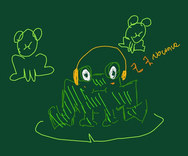 frog in pink headphones listening to No Wave