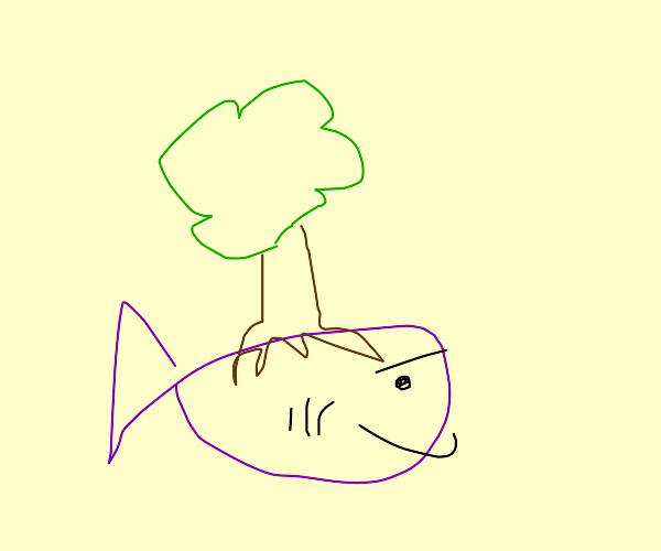 A tree growing on a fish.