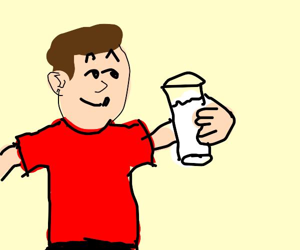 Smug looking man drinking milk