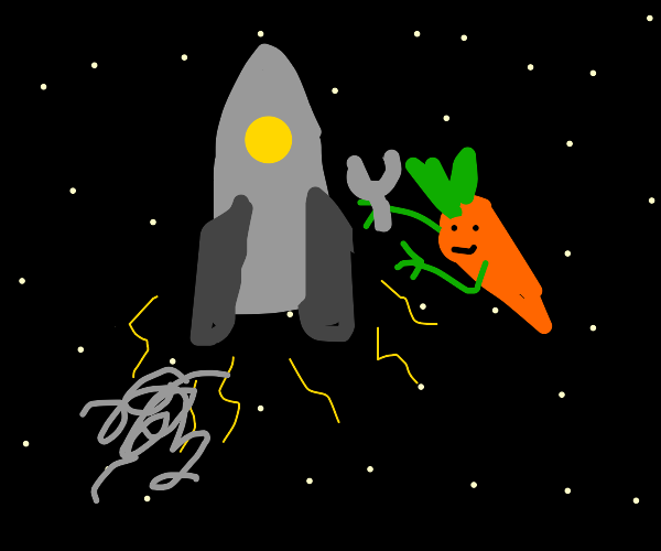 carrot man fixing a rocket in space