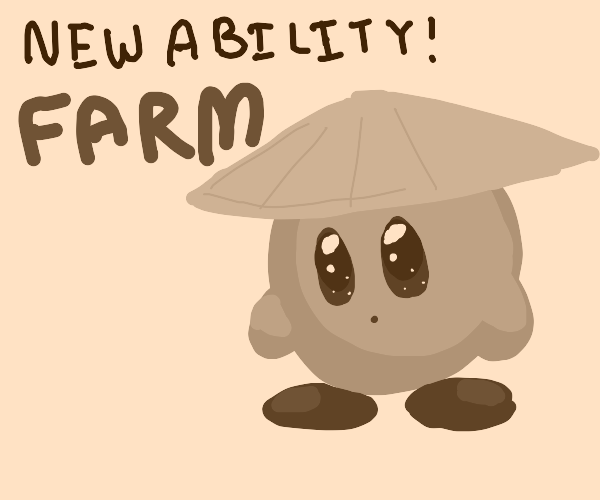 Kirby wearing an Asian conical hat