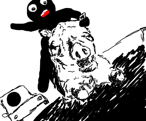 Stickman riding a pig on m3 highway