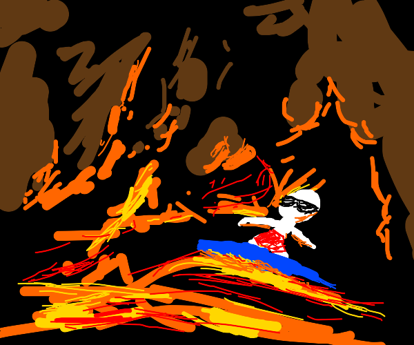 surfing on lava in a volcano