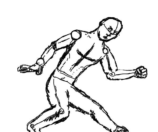 a sketch of a man about to run