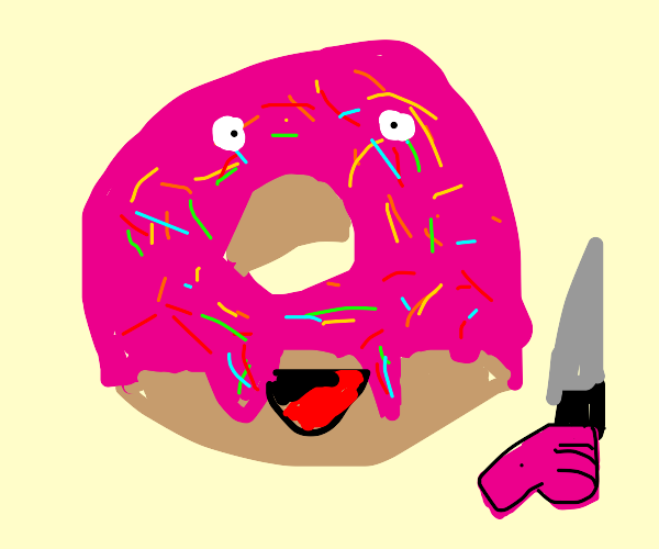 Sprinkled Donut with face holding a knife