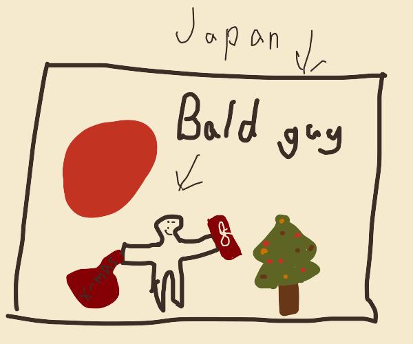 Bald Japanese Man steals XMAS presents