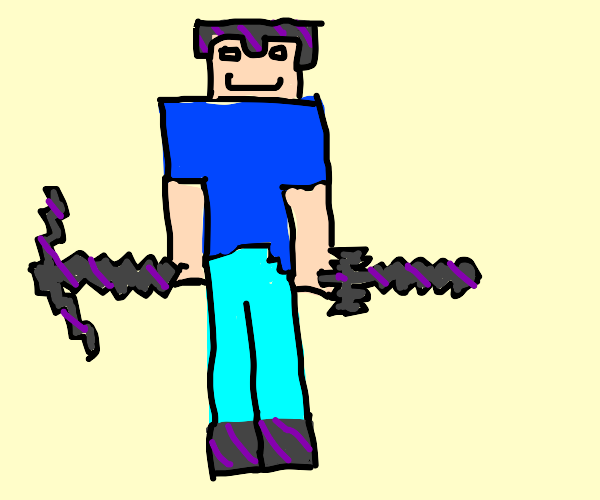 Minecraft Steve with sword and pickaxe