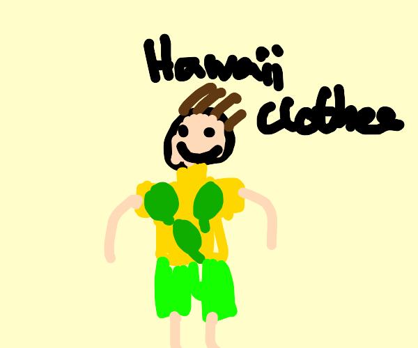 Guy dressed in Hawaiian clothing
