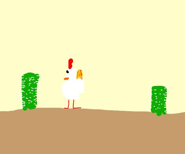 chicken on fire at desert