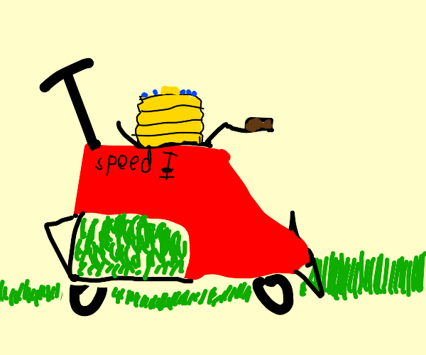 Pancakes on a red lawnmower.