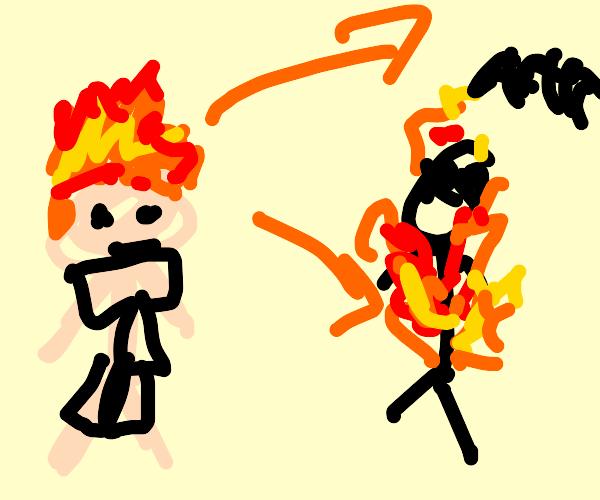 Ginger pyromancer burning people w his hair
