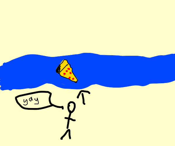 Hungry man finds pizza in a lake