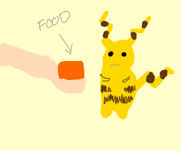 Give food to noseless Pikachu