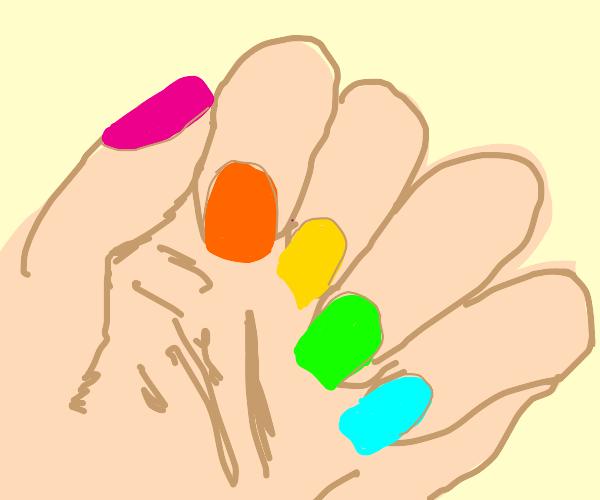 Fingernails painted many colors
