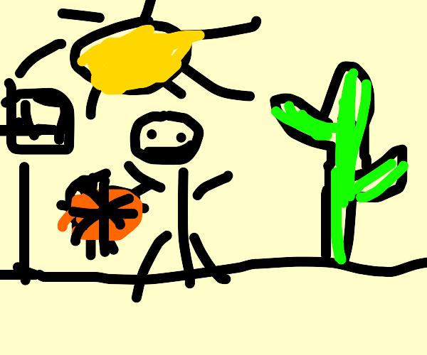Playing baseball in the desert