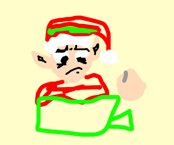 An elf wraping a gift