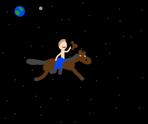 yo we riding a horse thru space