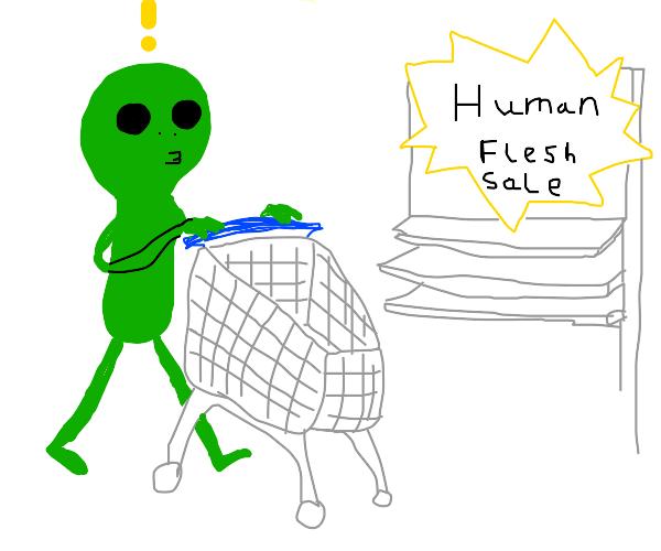 An alien goes shopping for human flesh
