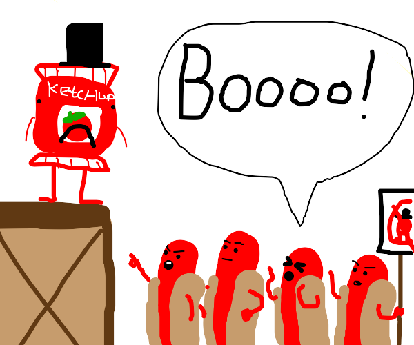 ketchup mayor is booed by the hotdogs