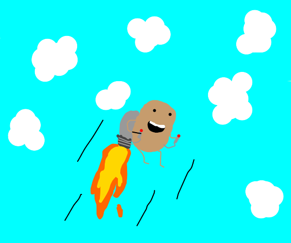A potato with a jetpack