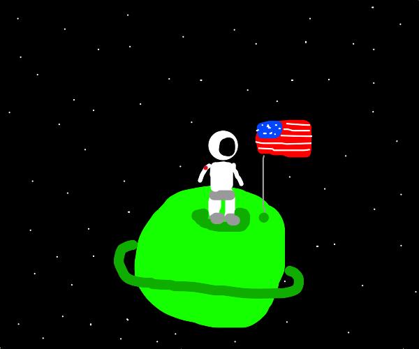 Astronaut on green planet