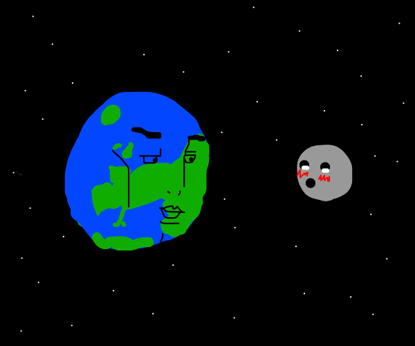 handsome earth tries to seduce the moon