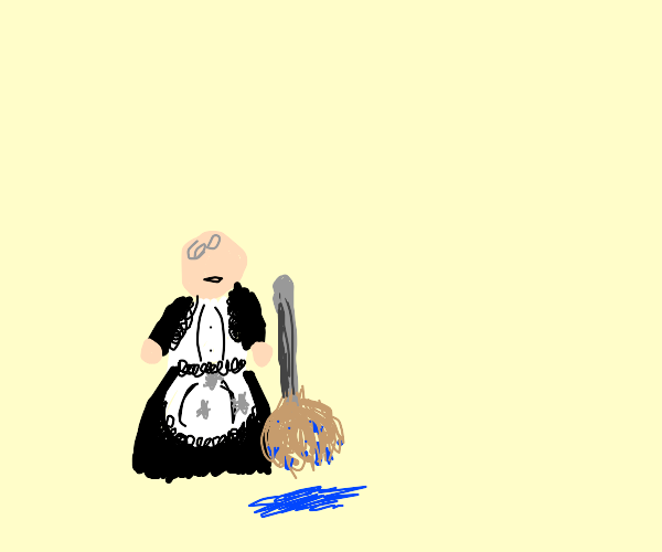 bald FAT maid holding mop with LICE on skirt