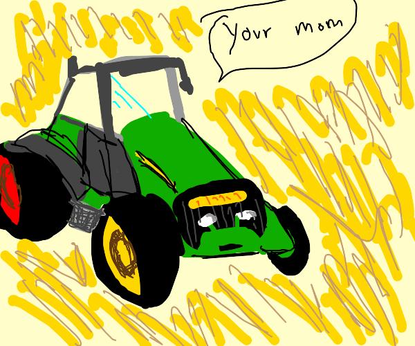 Cute tractor demonstrates overused joke