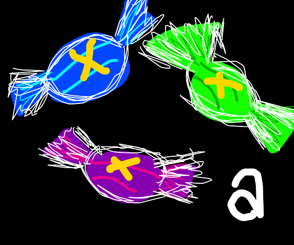 Blue green and purple candies with gold X's a