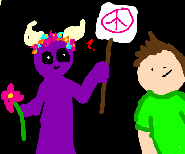 A demon convincing a man to accept pacifism