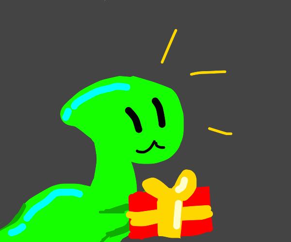Dinosaur gives a gift